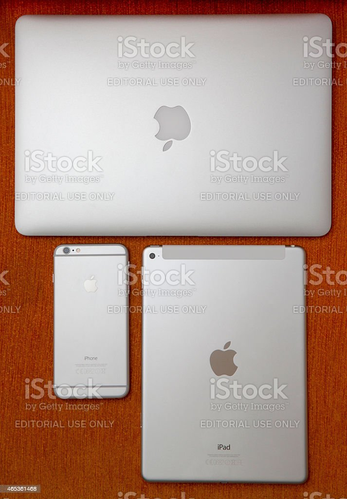 Apple iPhone 6 plus, iPad air 2 and MacBook Air stock photo