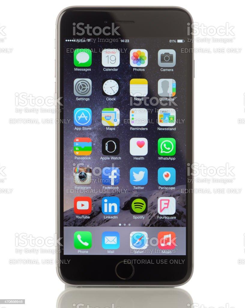 Apple iPhone 6 Plus on white background stock photo