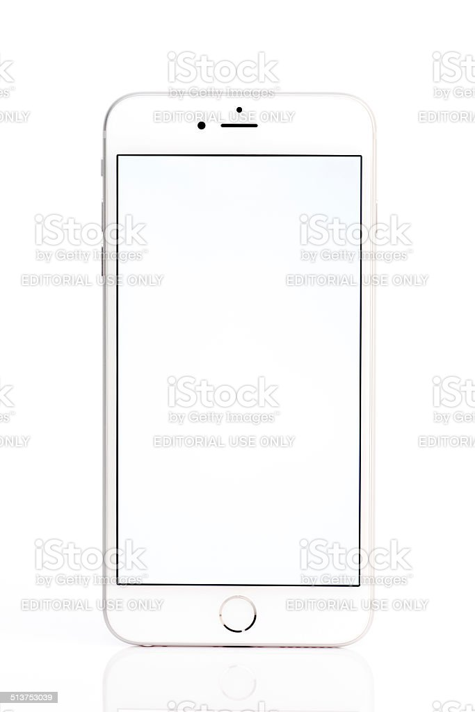 Apple iPhone 6 Plus White Screen Isolated on White Background stock photo