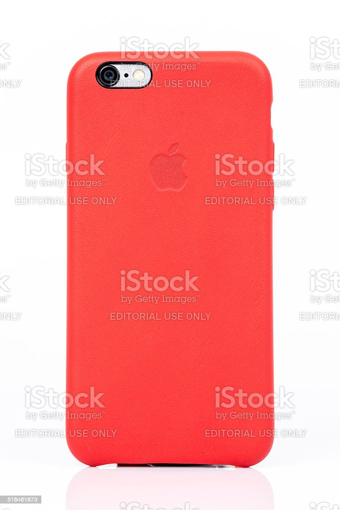 Apple iPhone 6 Red Case Back Isolated on White Background stock photo