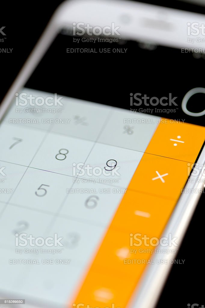 Apple iPhone 6 Screen with Calculator App Working stock photo