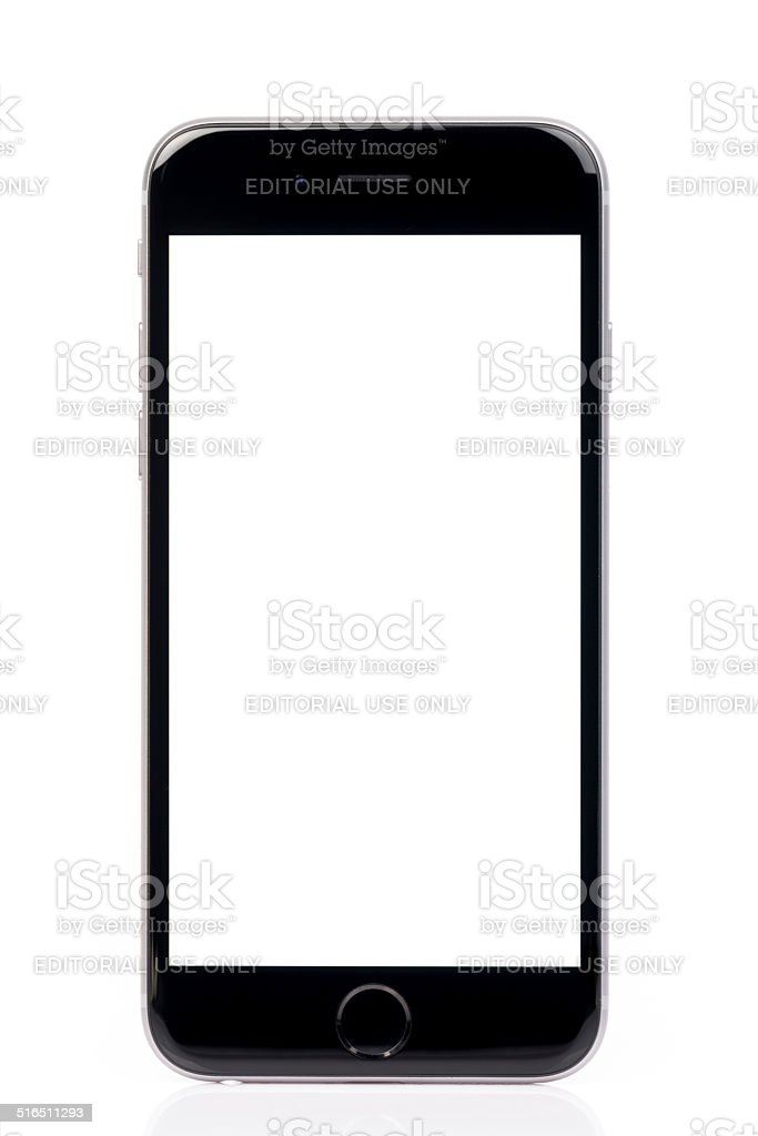 Apple iPhone 6 White Screen Isolated on White Background stock photo