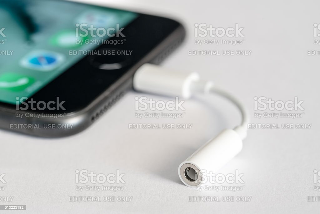 Apple iPhone 7 Plus, isolated on white background stock photo