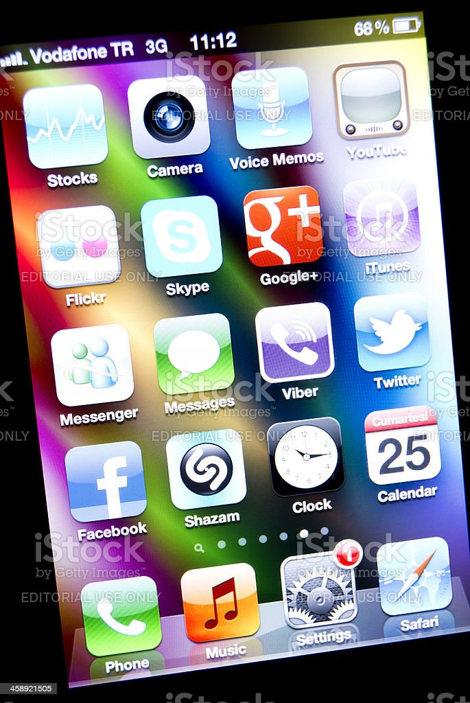 Apple iPhone  Applications royalty-free stock photo