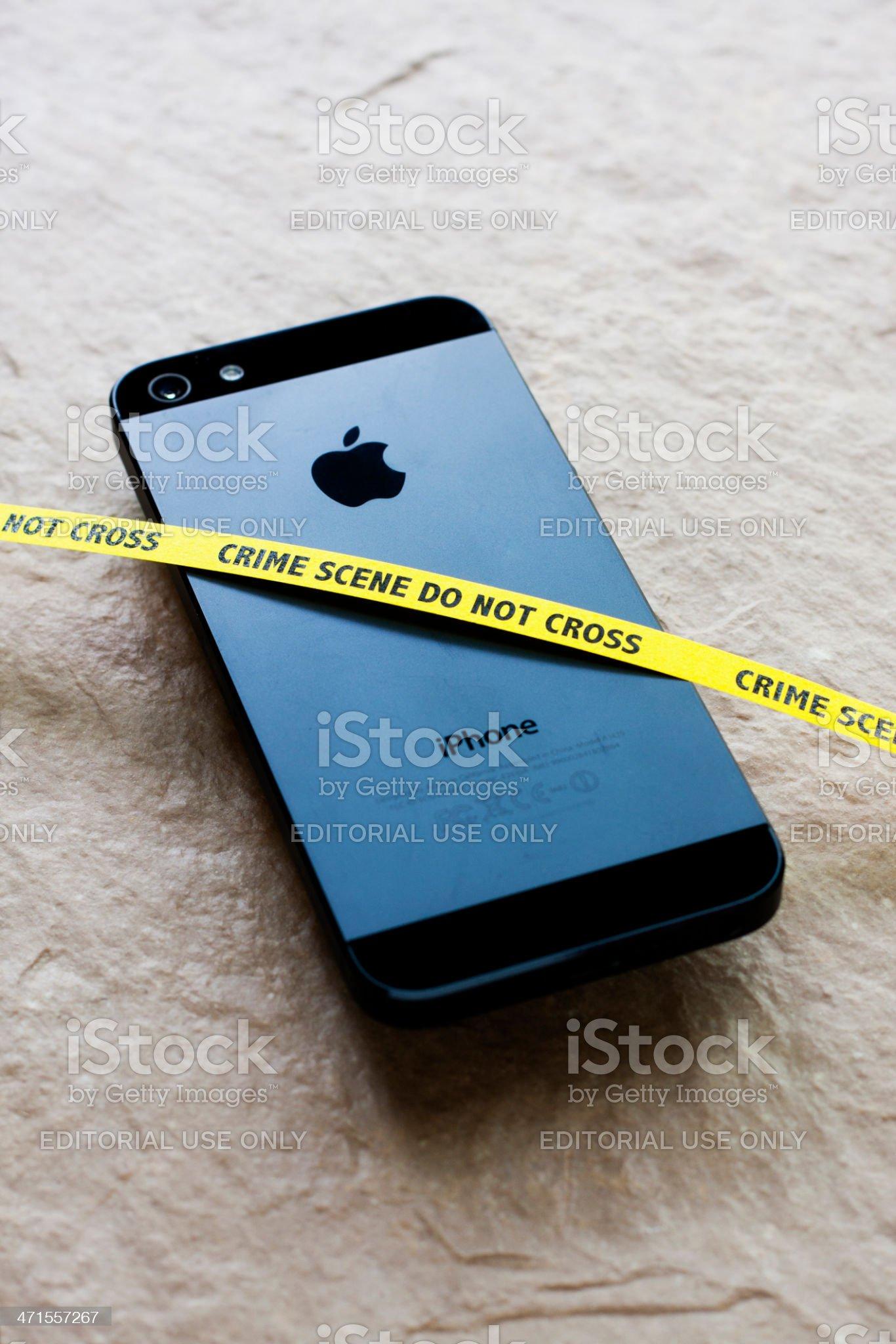 Apple iPhone Crime Scene royalty-free stock photo