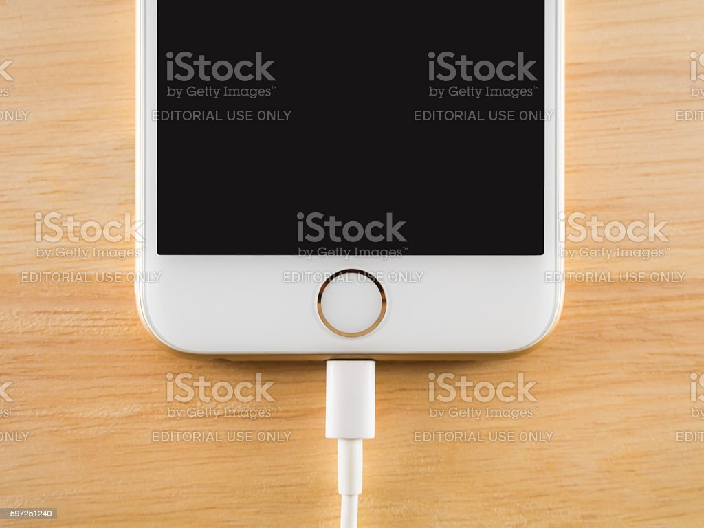 Apple iPhone6 Charging with Lightning USB Cable stock photo
