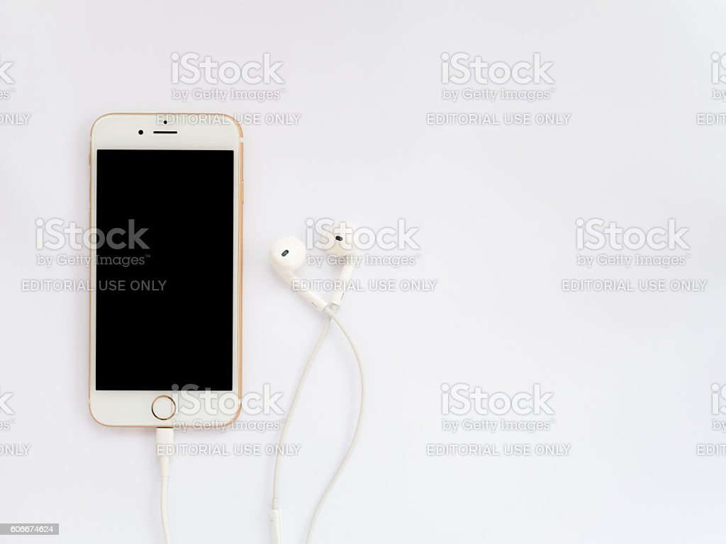Apple iPhone7 mockup and Apple EarPods mockup stock photo