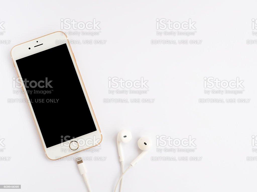 Apple iPhone7 mockup and Apple EarPods mockup stock photo