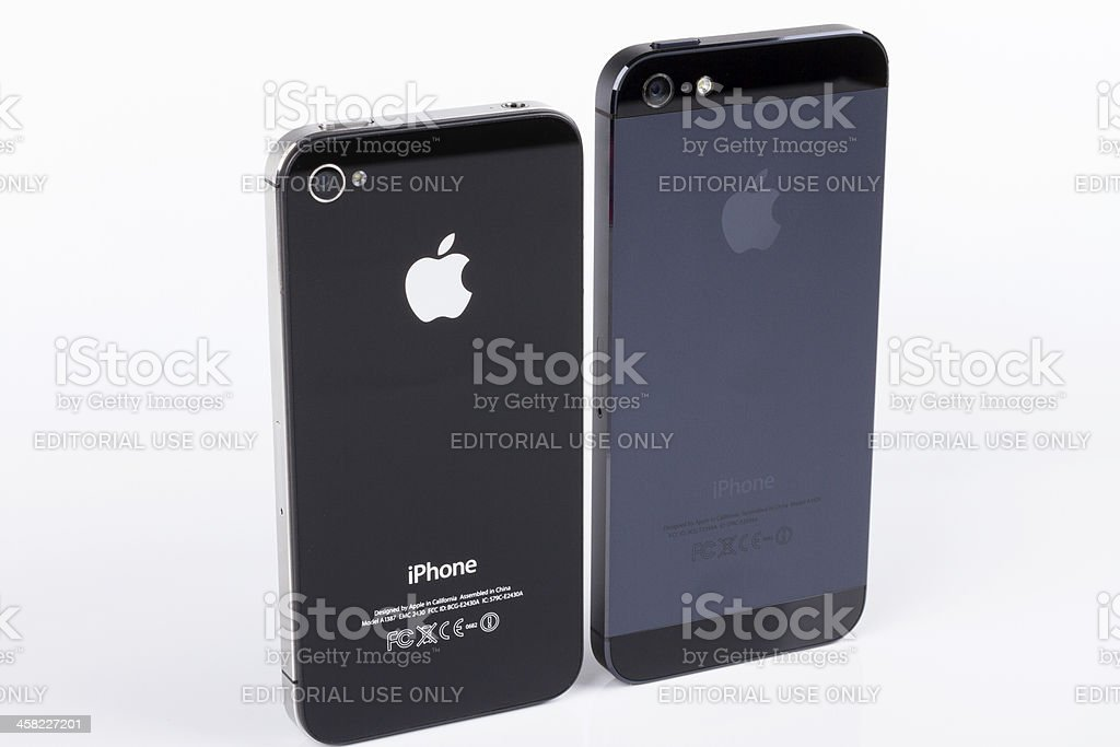 Apple iPhones 4S and 5 royalty-free stock photo