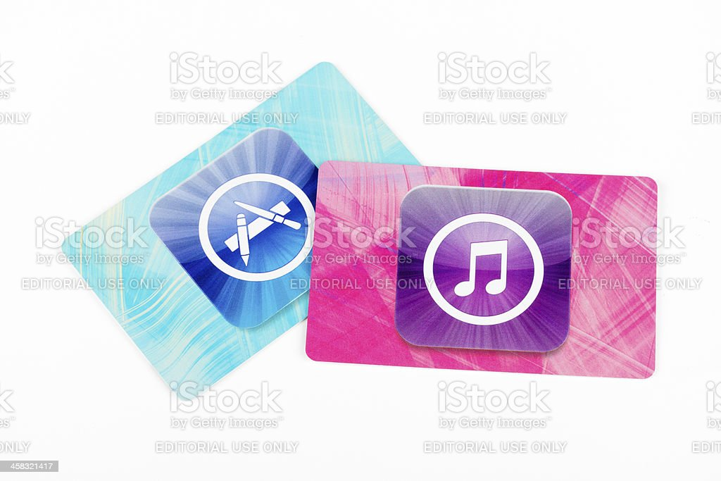 Apple iTunes Store cards stock photo