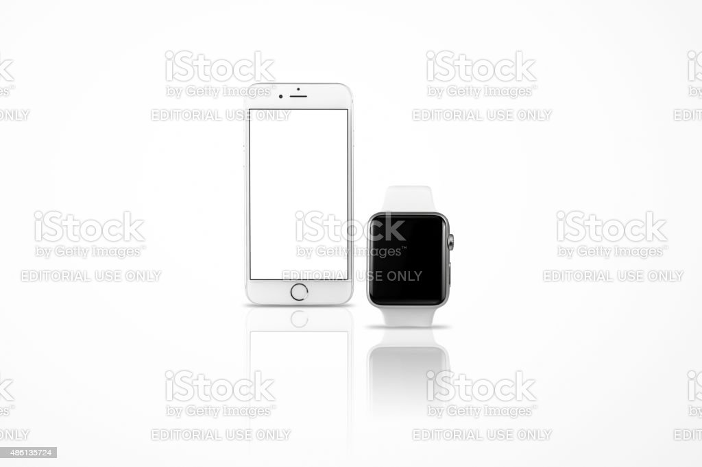 Apple iWatch and iPhone stock photo