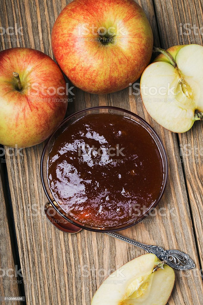 Apple jam in a saucer, top view stock photo