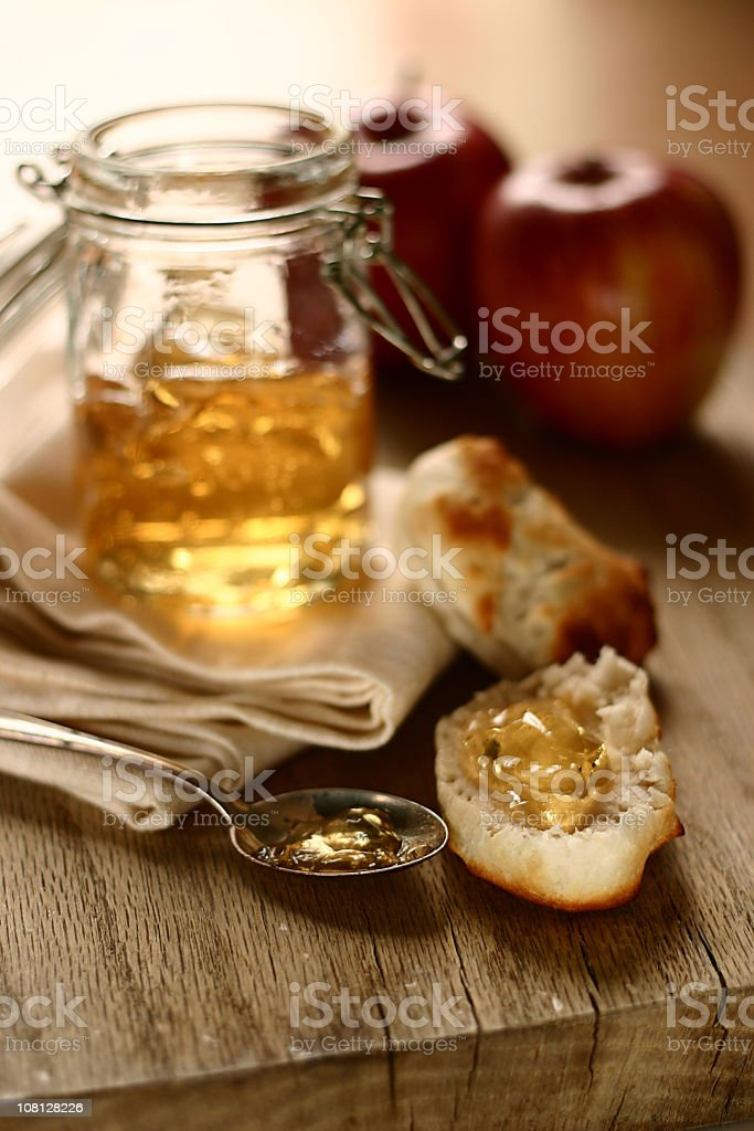 Apple Jelly with Apples and Biscuits on Cutting Board royalty-free stock photo