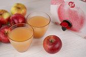 Apple juice  in glasses.