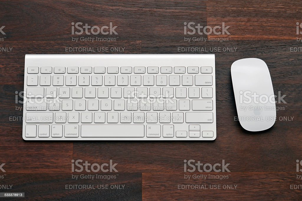 Apple Keyboard and Mouse stock photo