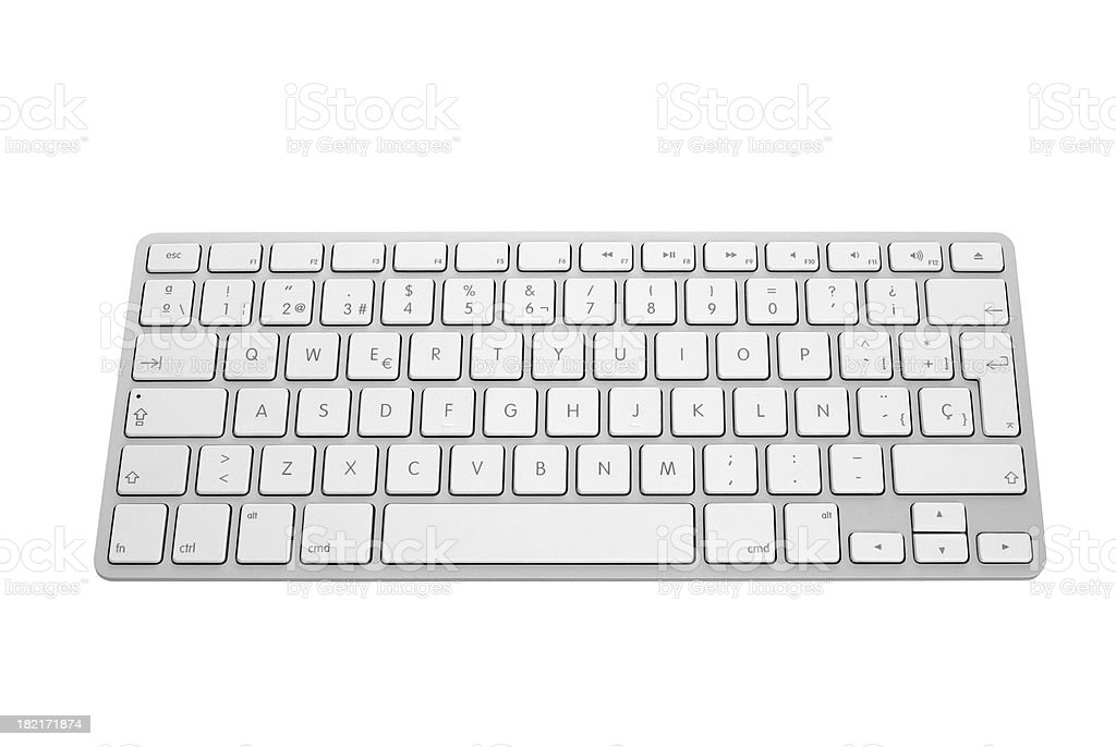 Apple keyboard in silver and white royalty-free stock photo