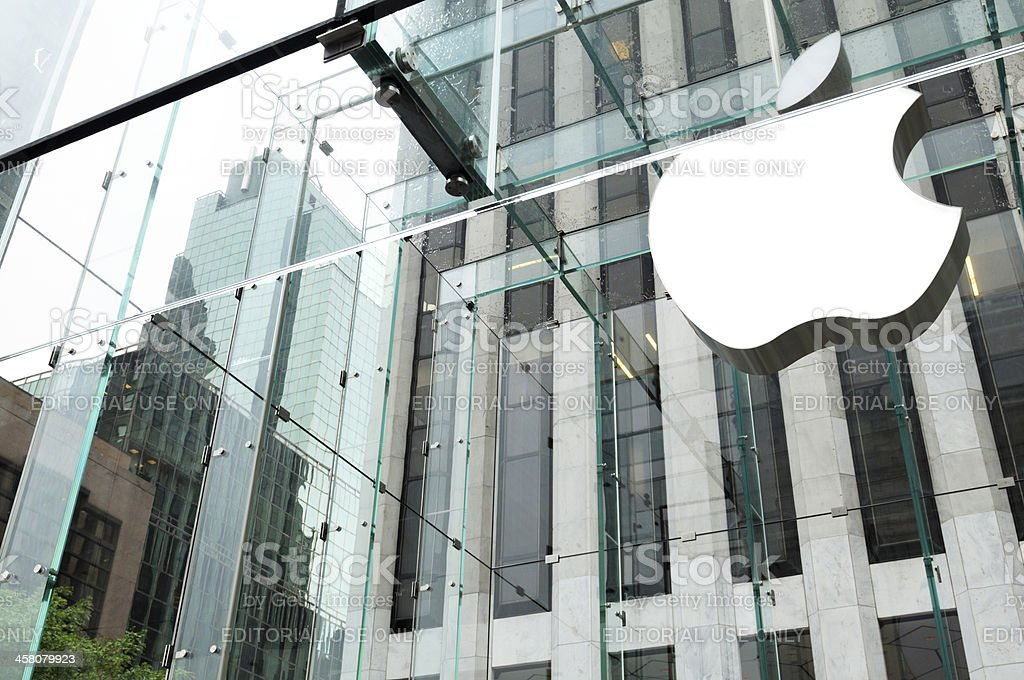 'Apple Logo above Fifth Avenue Store,NYC.' stock photo