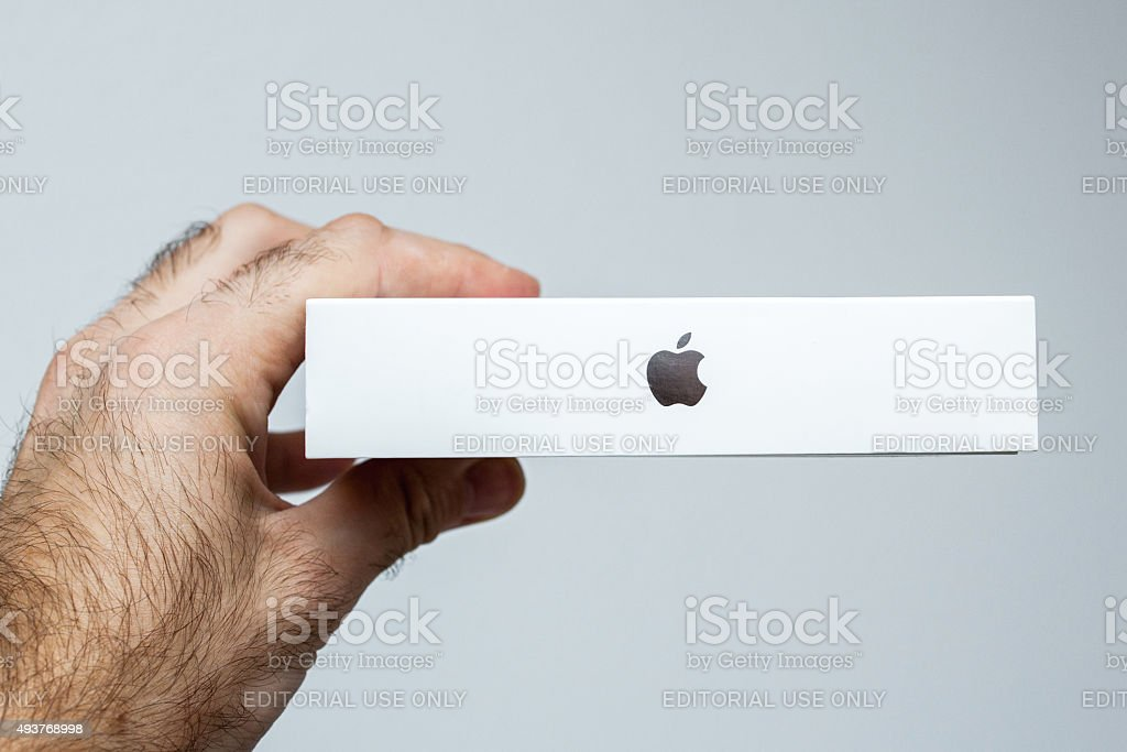 Apple Logo box product in box stock photo