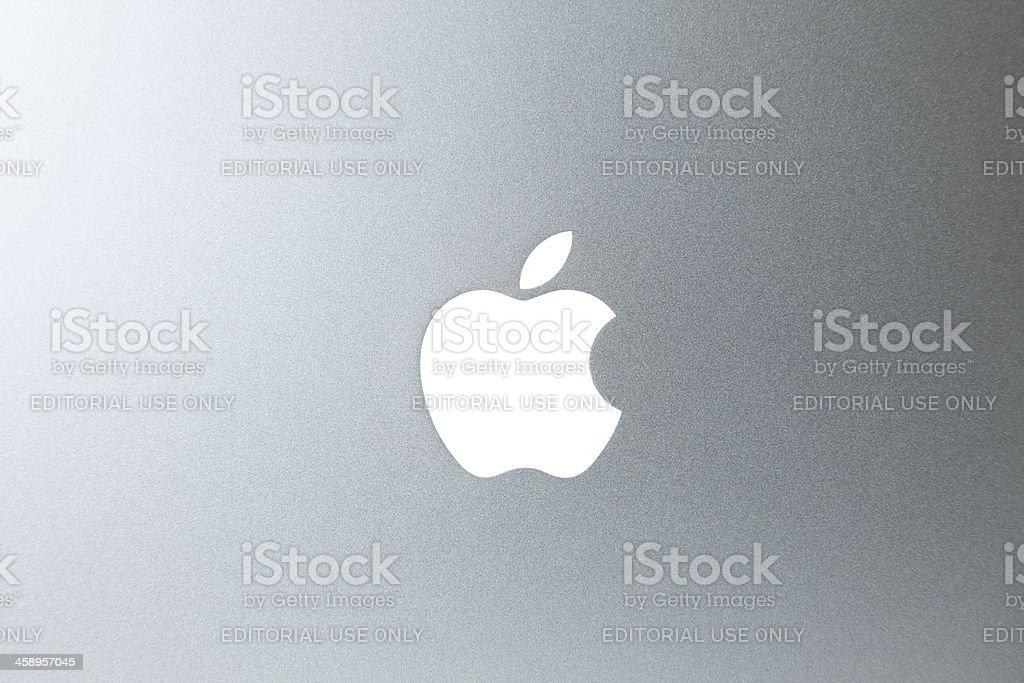 Apple Logo On MacBook Pro Laptop Computer stock photo