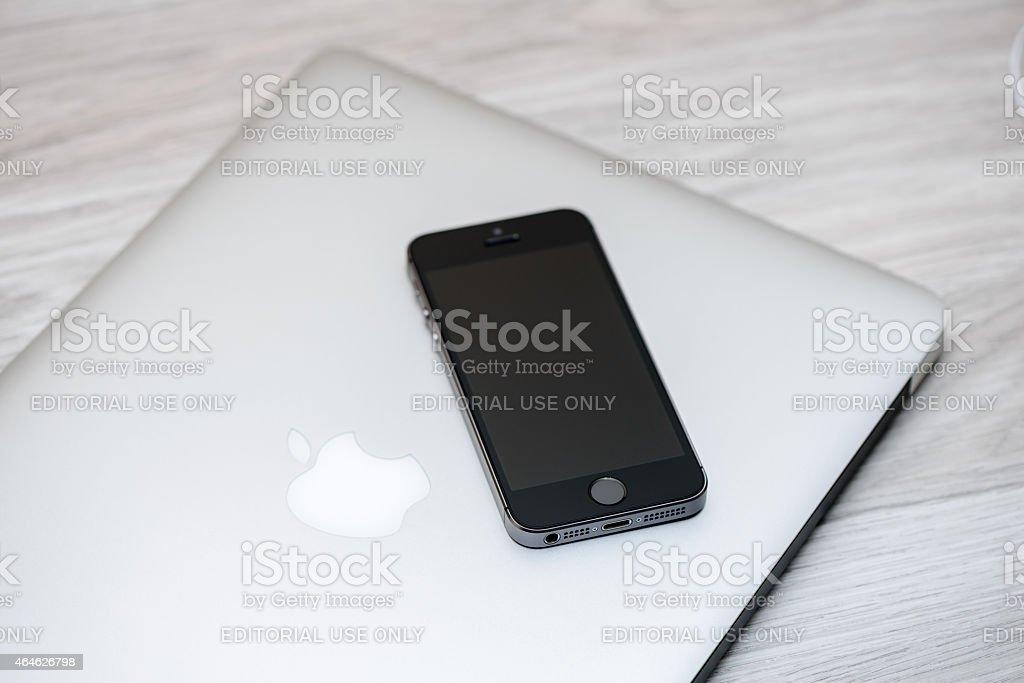 Apple MacBook Air, iPhone 5s stock photo