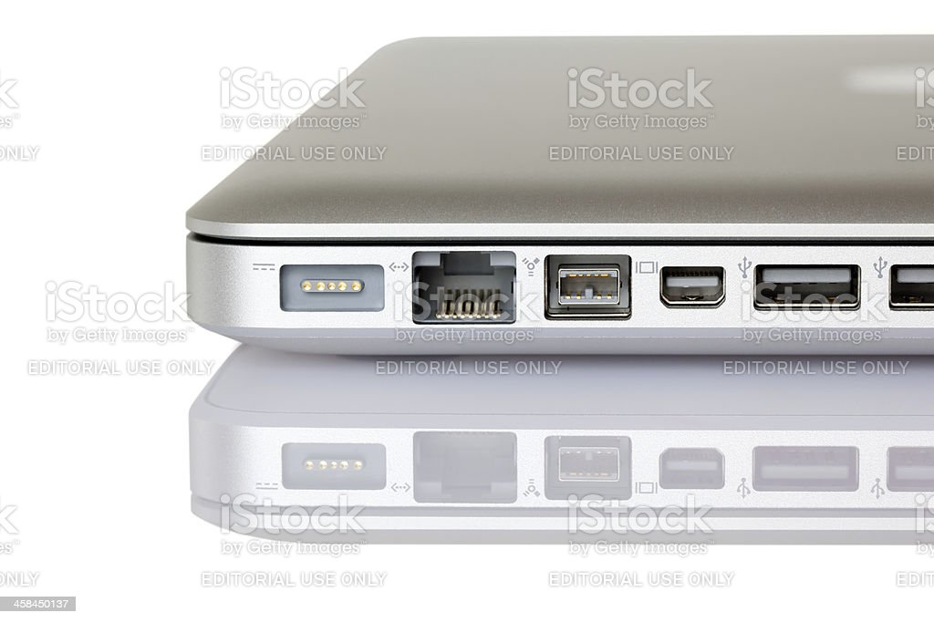 Apple MacBook Pro Ports royalty-free stock photo