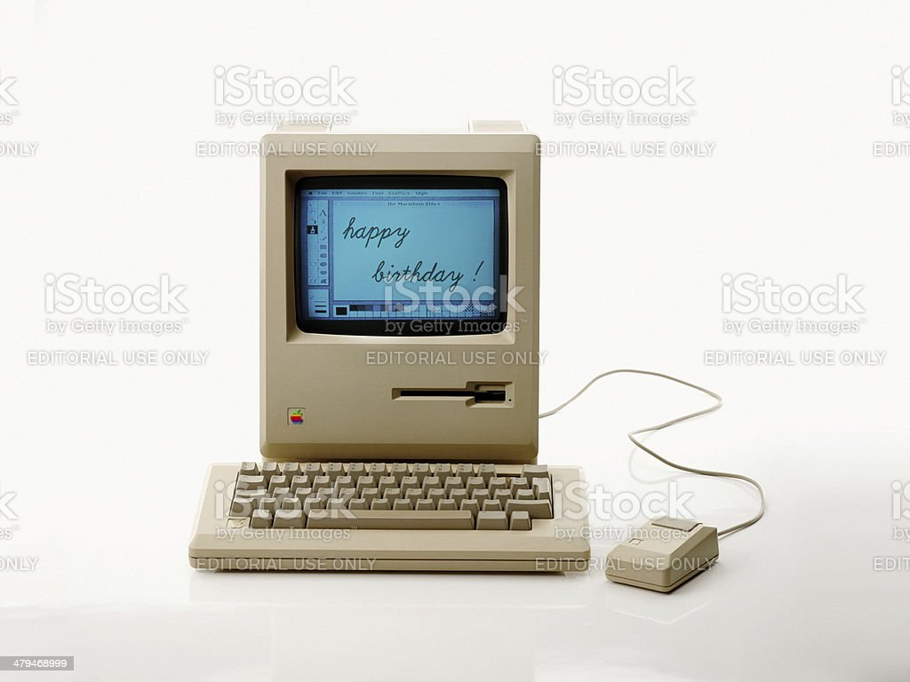 Apple Macintosh 128k from 1984, the vintage iMac stock photo