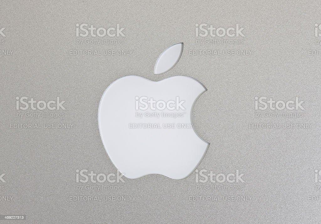 Apple Macintosh logo on the Macbook Air stock photo