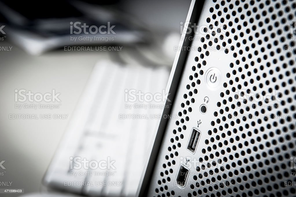 Apple Macintosh Modern Mac Pro Grey Computer on Desk royalty-free stock photo
