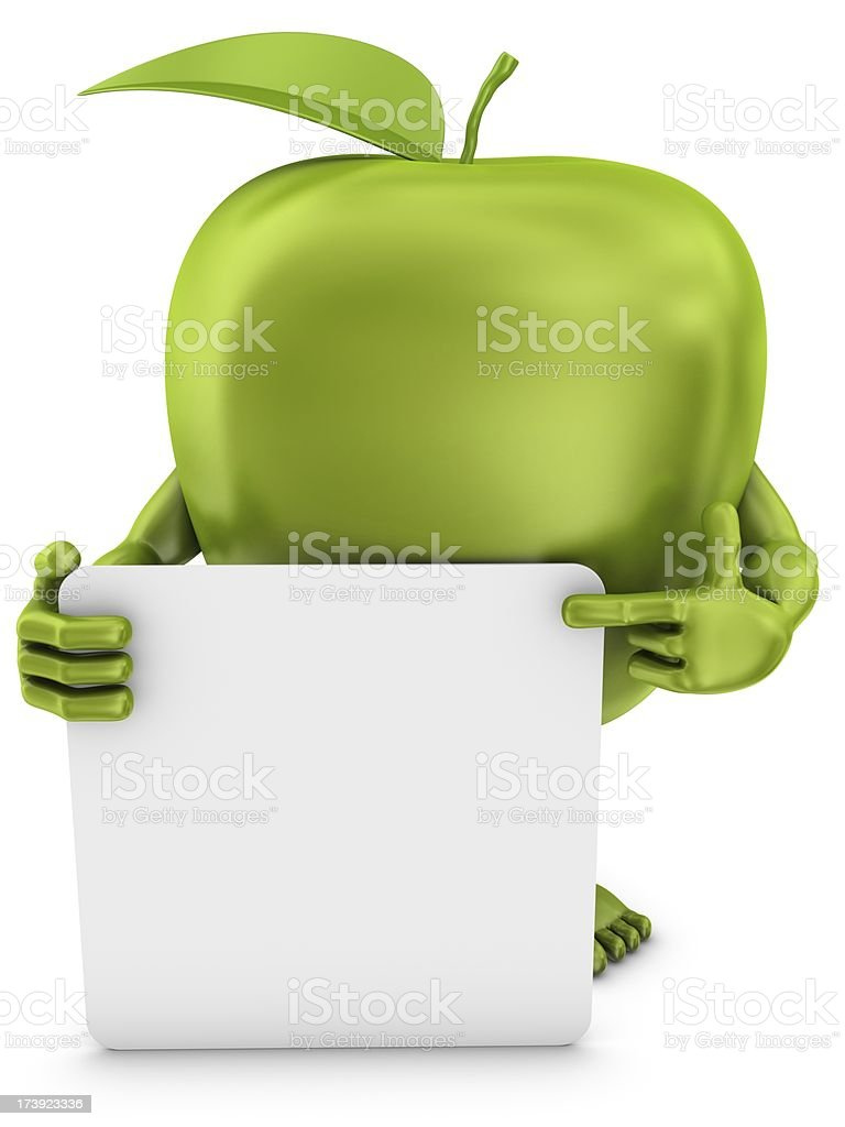 apple man pointing on whiteboard royalty-free stock photo