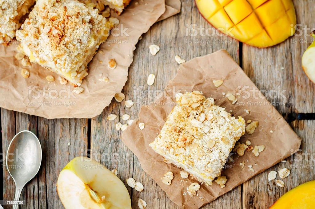 Apple mango cream cheese oat bars stock photo