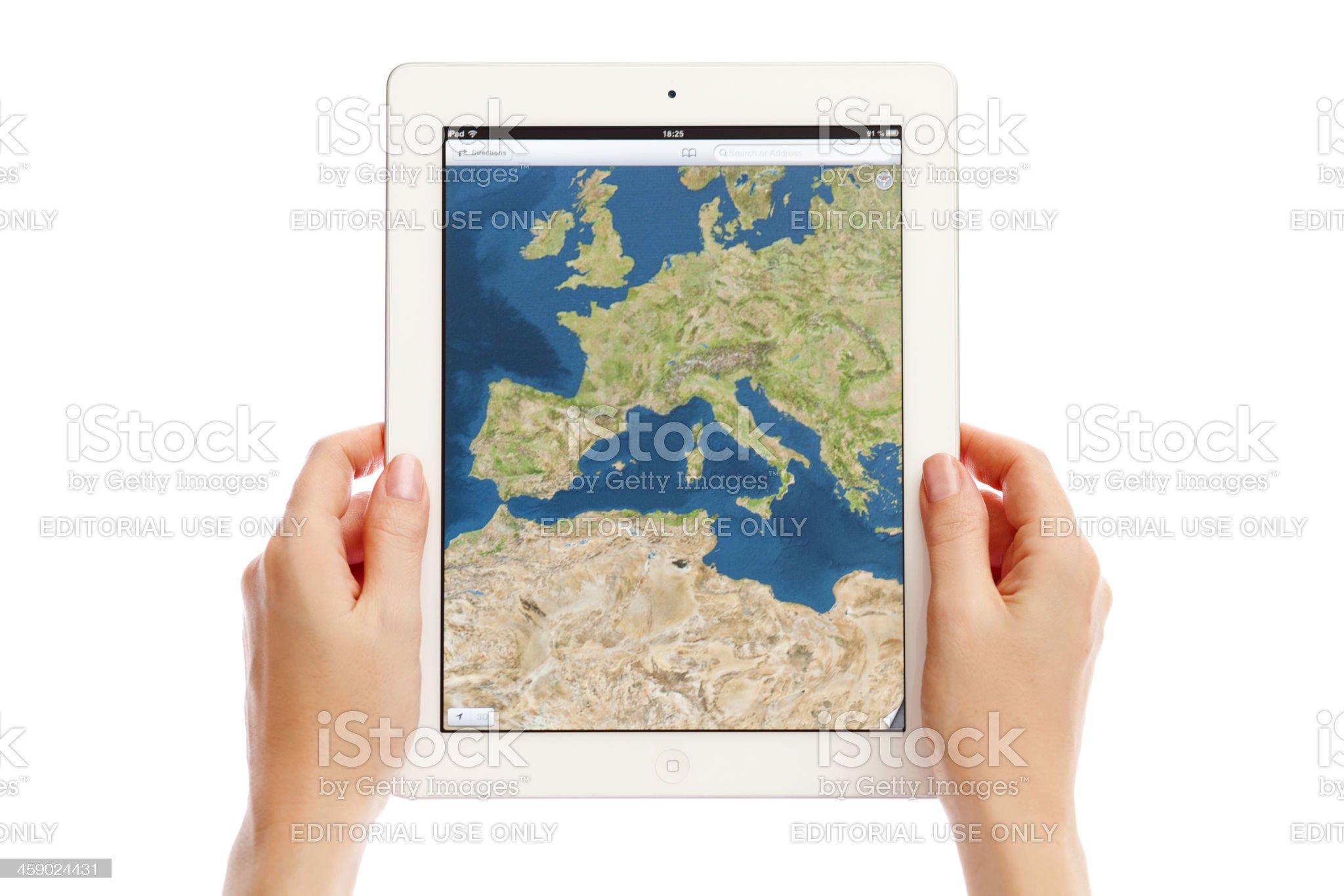 Apple Maps on iPad royalty-free stock photo