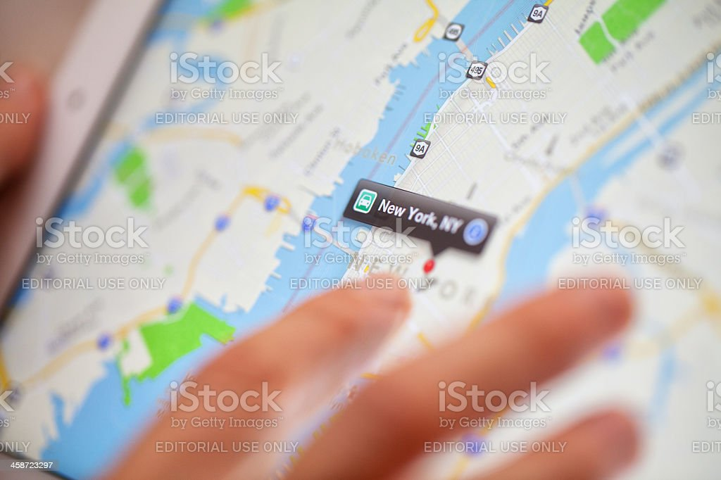 Apple maps web pages on Ipad stock photo