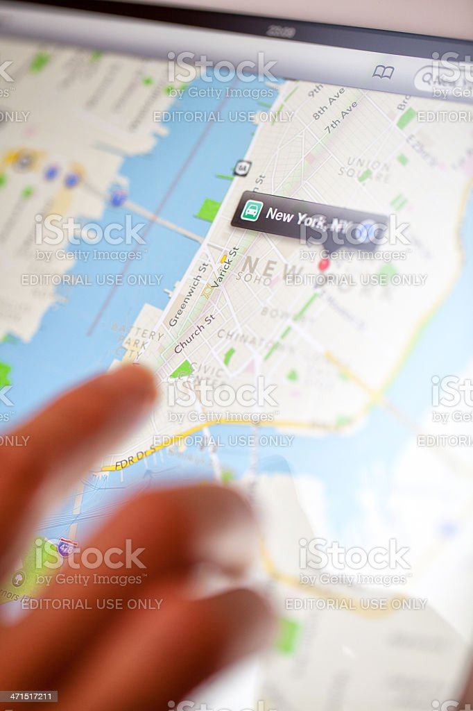 Apple maps web pages on Ipad royalty-free stock photo