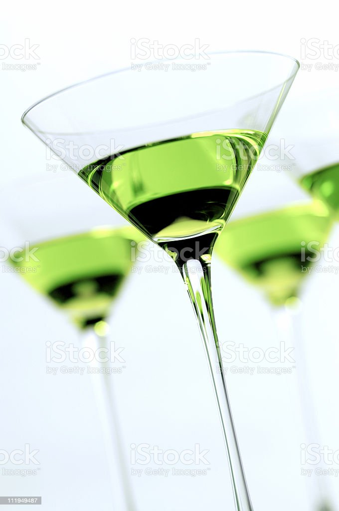 Apple Martini Cocktail on White stock photo