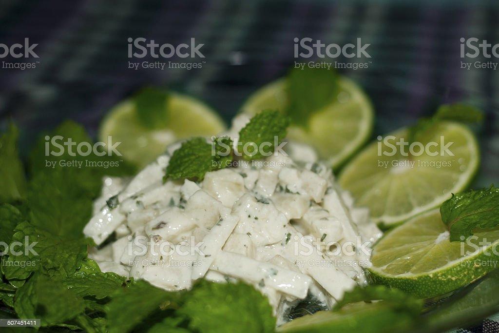 Apple, Mint and Jicama slaw stock photo
