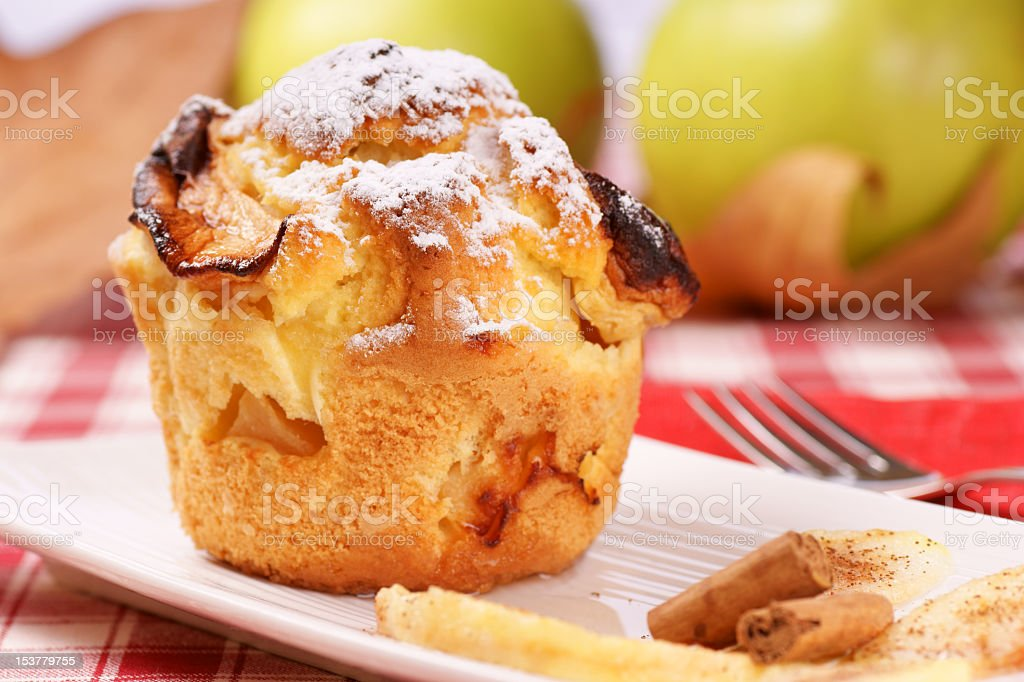 Apple muffin served on white plate  stock photo