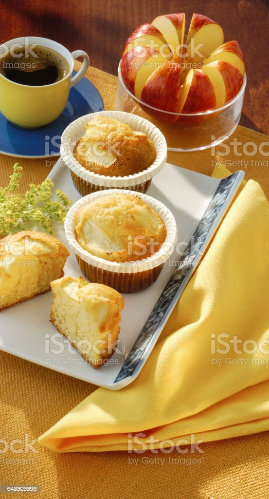 apple muffins with a coffee stock photo