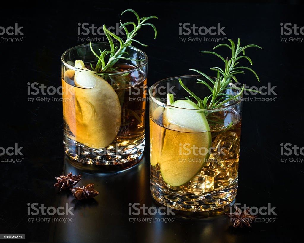 Apple Old-Fashioned Beverages for Two stock photo