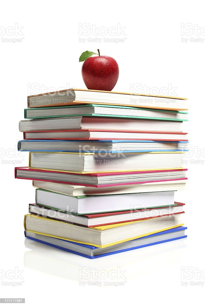 Apple on a Stack of Book royalty-free stock photo