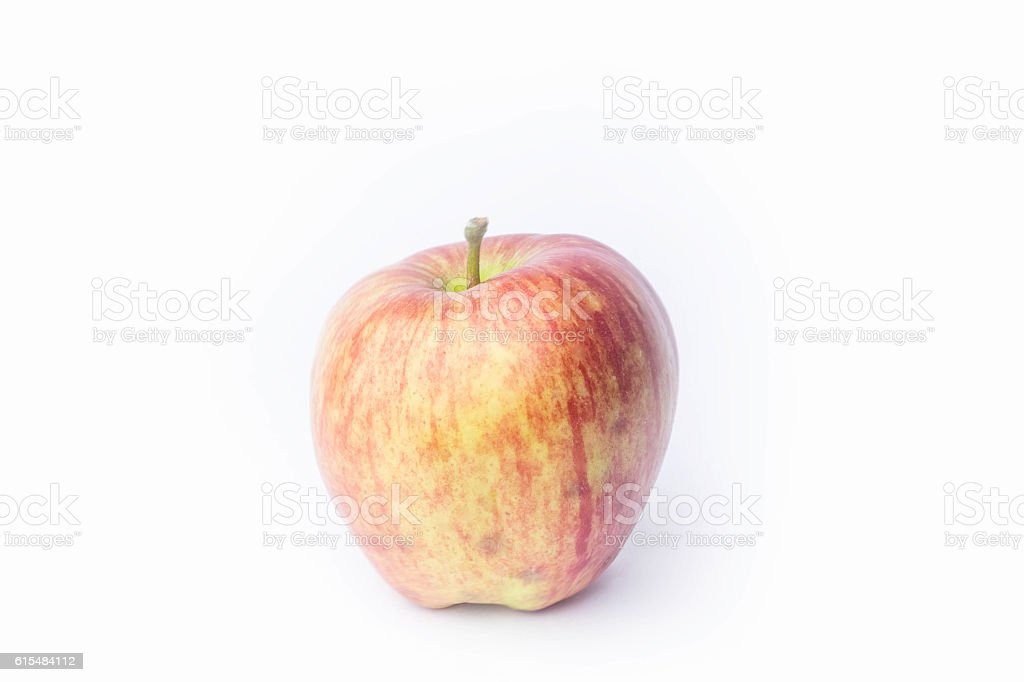 apple on a white background and the meter stock photo