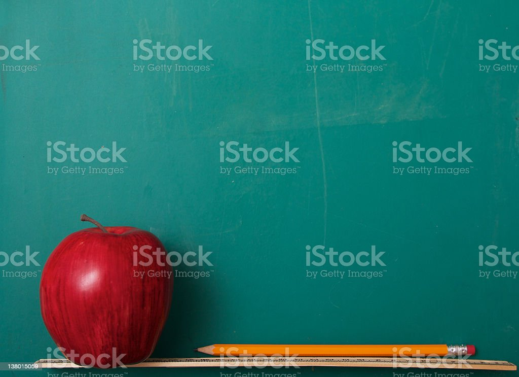 Apple on Chalkboard royalty-free stock photo