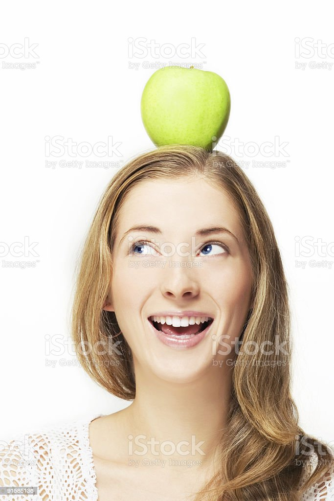 apple on her head royalty-free stock photo