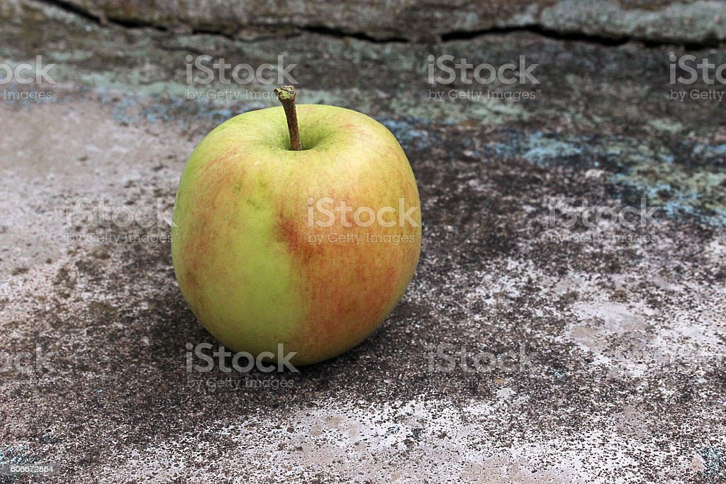 apple on the stone stairs stock photo