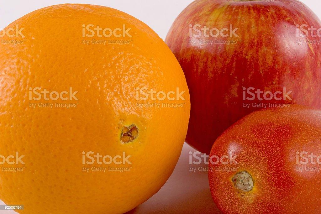 Apple, Orange, Tomato royalty-free stock photo