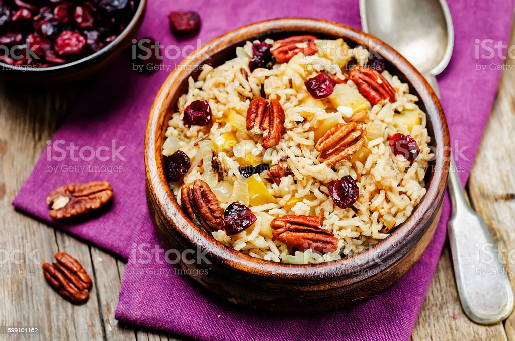 Apple Pecan dried cranberries and brown wild rice stock photo