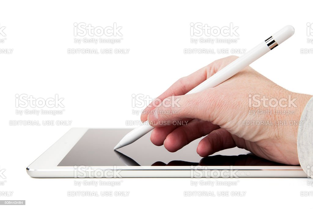 Apple Pencil and iPad Pro - Hand Writing or Drawing stock photo