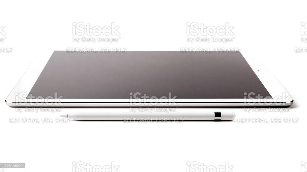 Apple Pencil and iPad Pro stock photo