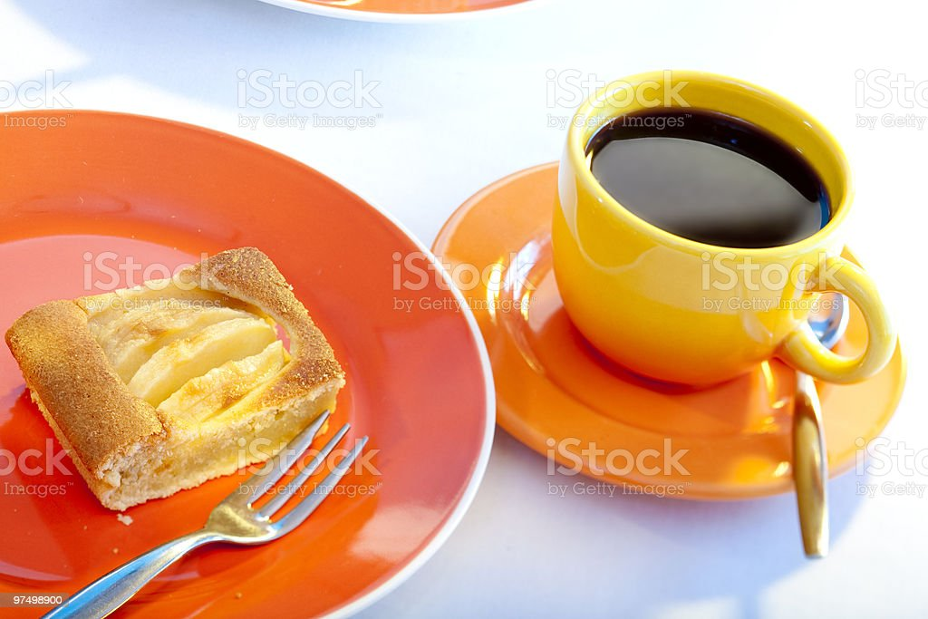 apple pie and coffee stock photo