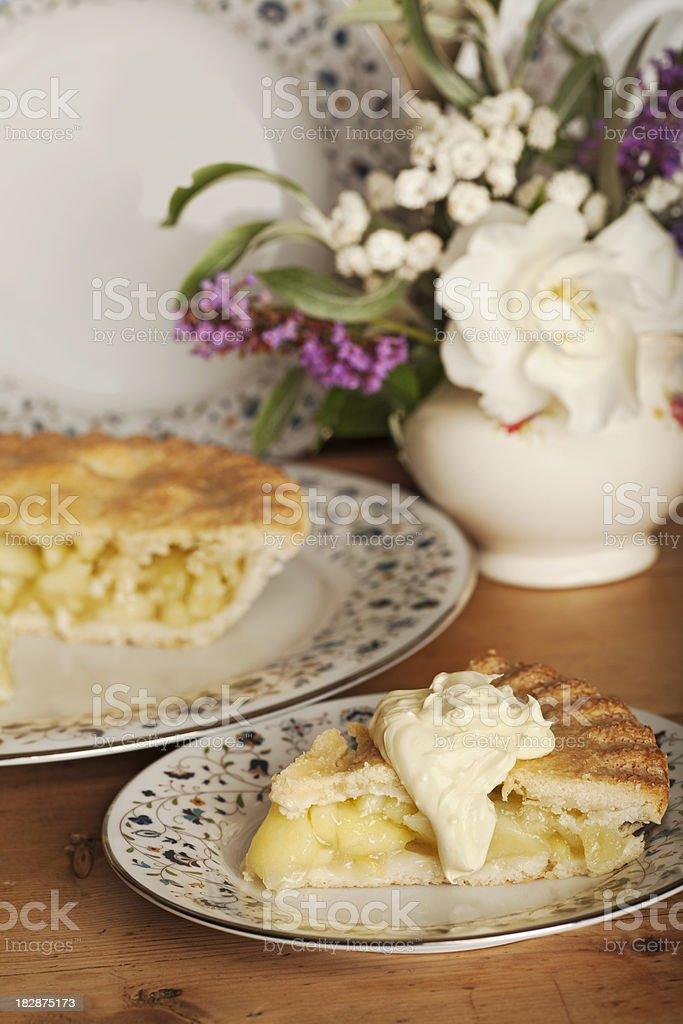 Apple pie and cream stock photo