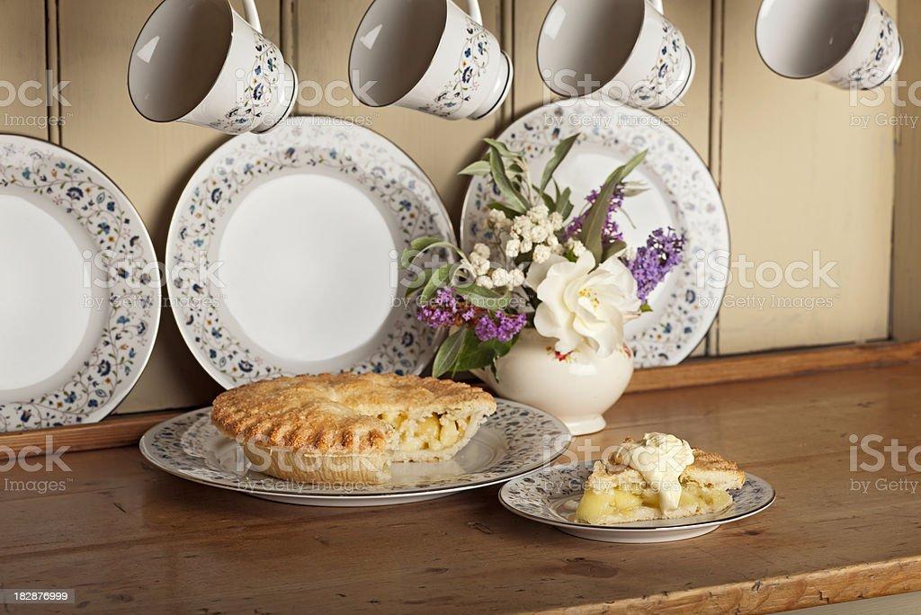 Apple pie and cream royalty-free stock photo